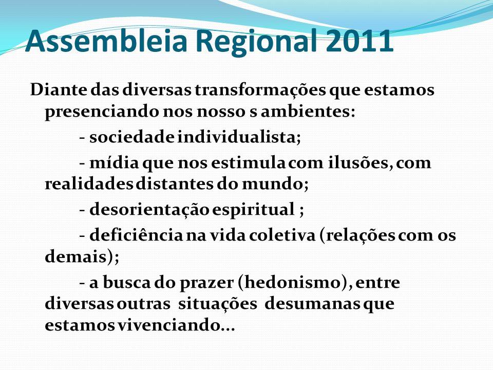 Assembleia Regional 2011 Diante das diversas transformações que estamos presenciando nos nosso s ambientes: - sociedade individualista; - mídia que no