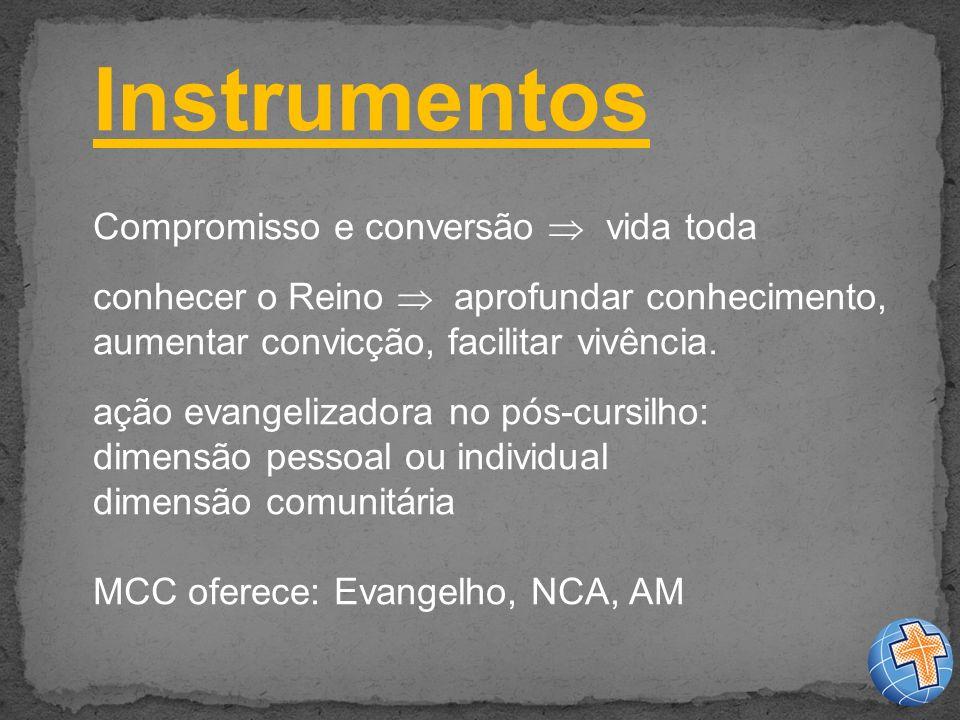Instrumentos Compromisso e conversão vida toda conhecer o Reino aprofundar conhecimento, aumentar convicção, facilitar vivência.
