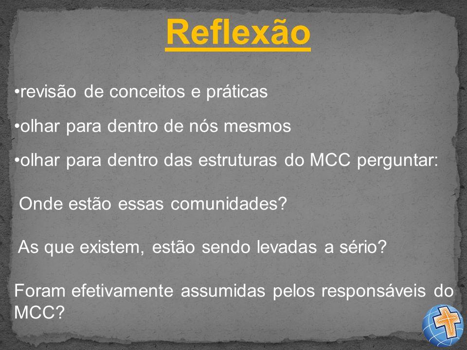 Reflexão revisão de conceitos e práticas olhar para dentro de nós mesmos olhar para dentro das estruturas do MCC perguntar: Onde estão essas comunidades.