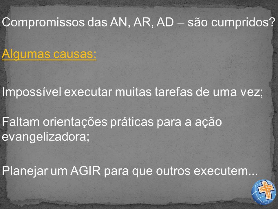 Compromissos das AN, AR, AD – são cumpridos.