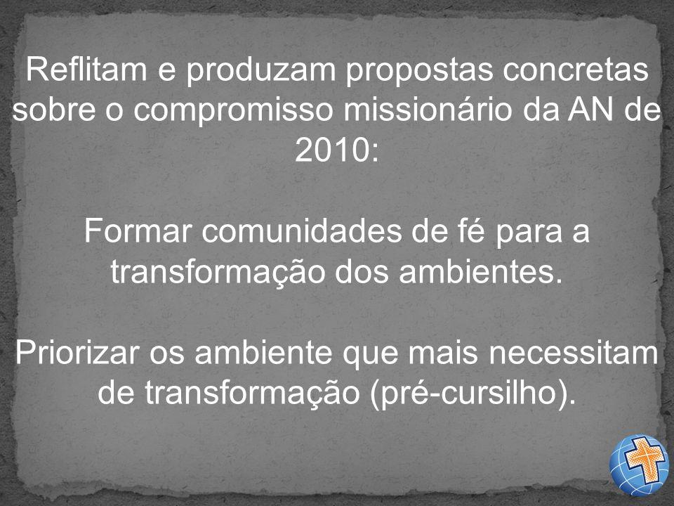 Reflitam e produzam propostas concretas sobre o compromisso missionário da AN de 2010: Formar comunidades de fé para a transformação dos ambientes.