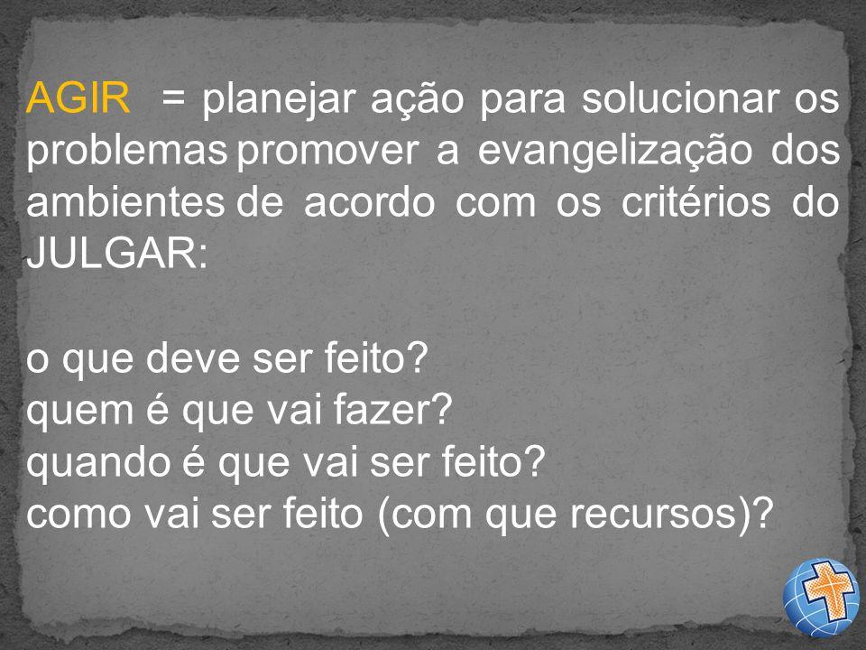 AGIR = planejar ação para solucionar os problemas promover a evangelização dos ambientes de acordo com os critérios do JULGAR: o que deve ser feito.