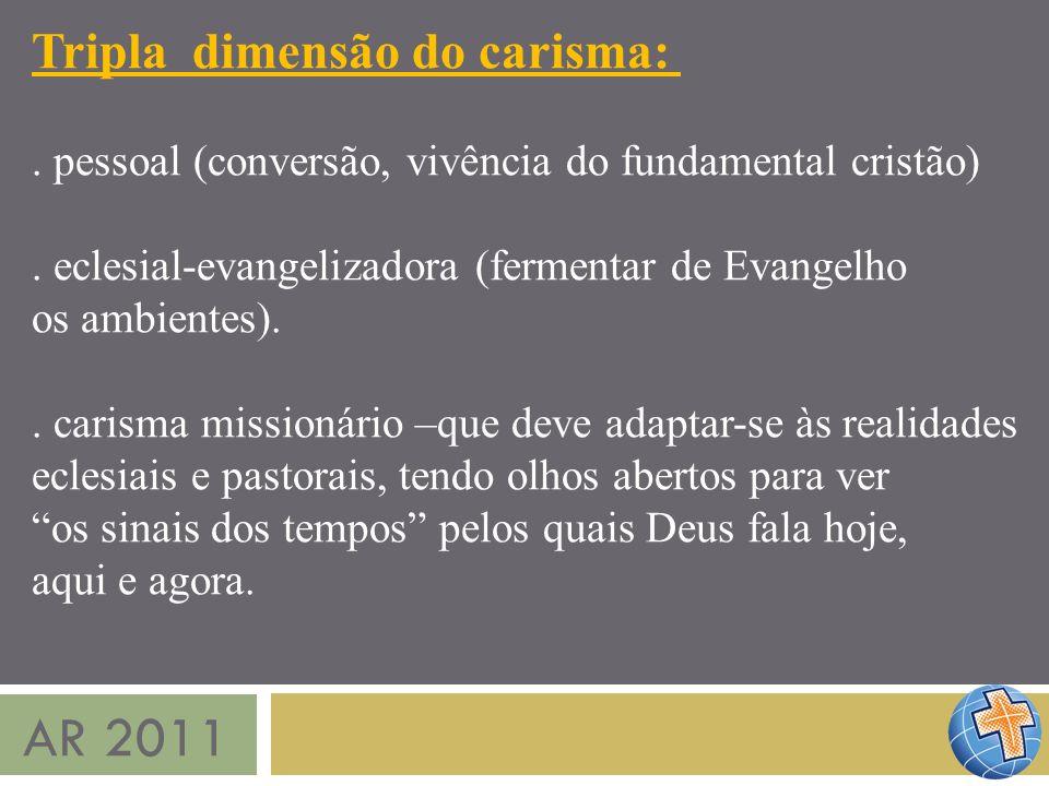AR 2011 Tripla dimensão do carisma:. pessoal (conversão, vivência do fundamental cristão). eclesial-evangelizadora (fermentar de Evangelho os ambiente
