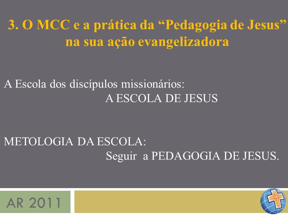 AR 2011 3. O MCC e a prática da Pedagogia de Jesus na sua ação evangelizadora A Escola dos discípulos missionários: A ESCOLA DE JESUS METOLOGIA DA ESC