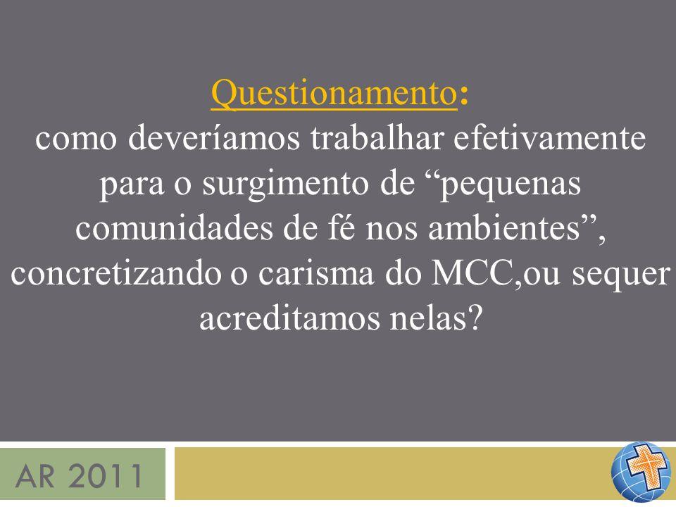 AR 2011 Questionamento: como deveríamos trabalhar efetivamente para o surgimento de pequenas comunidades de fé nos ambientes, concretizando o carisma