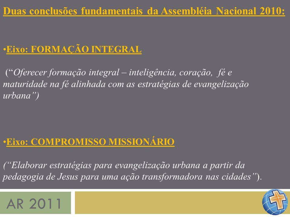 AR 2011 Duas conclusões fundamentais da Assembléia Nacional 2010: Eixo: FORMAÇÃO INTEGRAL (Oferecer formação integral – inteligência, coração, fé e ma