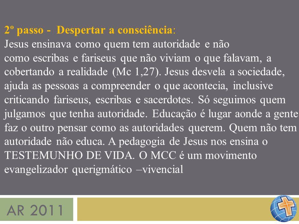 AR 2011 2º passo - Despertar a consciência: Jesus ensinava como quem tem autoridade e não como escribas e fariseus que não viviam o que falavam, a cob