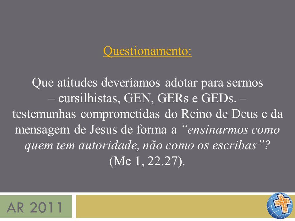 AR 2011 Questionamento: Que atitudes deveríamos adotar para sermos – cursilhistas, GEN, GERs e GEDs. – testemunhas comprometidas do Reino de Deus e da