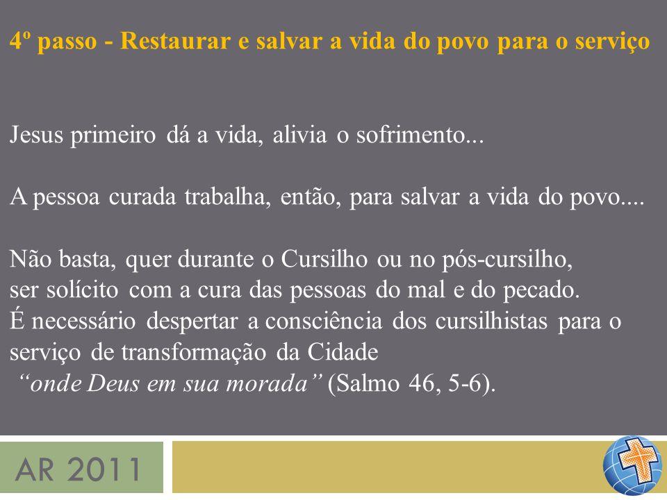 AR 2011 4º passo - Restaurar e salvar a vida do povo para o serviço Jesus primeiro dá a vida, alivia o sofrimento... A pessoa curada trabalha, então,