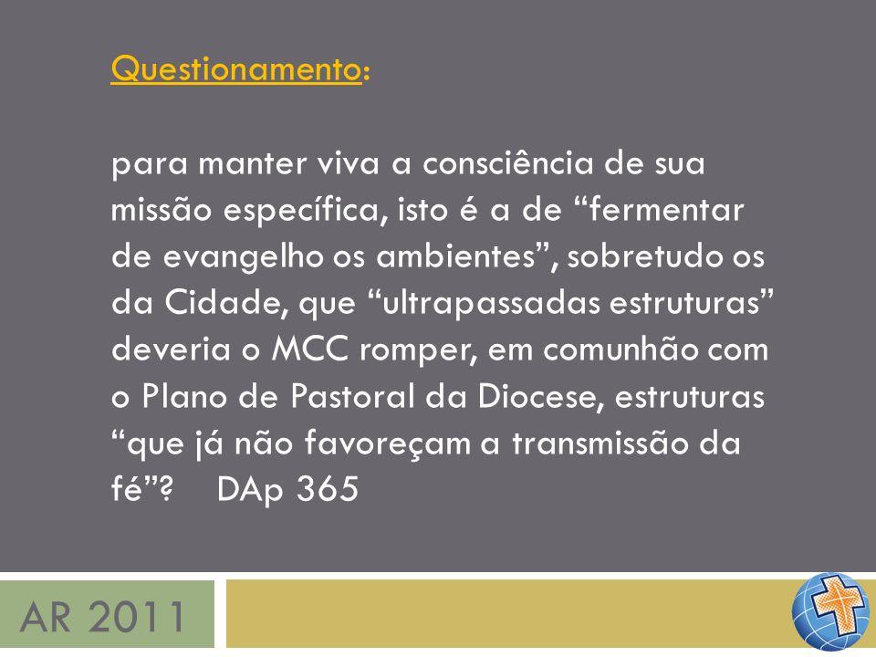 AR 2011 Questionamento: para manter viva a consciência de sua missão específica, isto é a de fermentar de evangelho os ambientes, sobretudo os da Cida