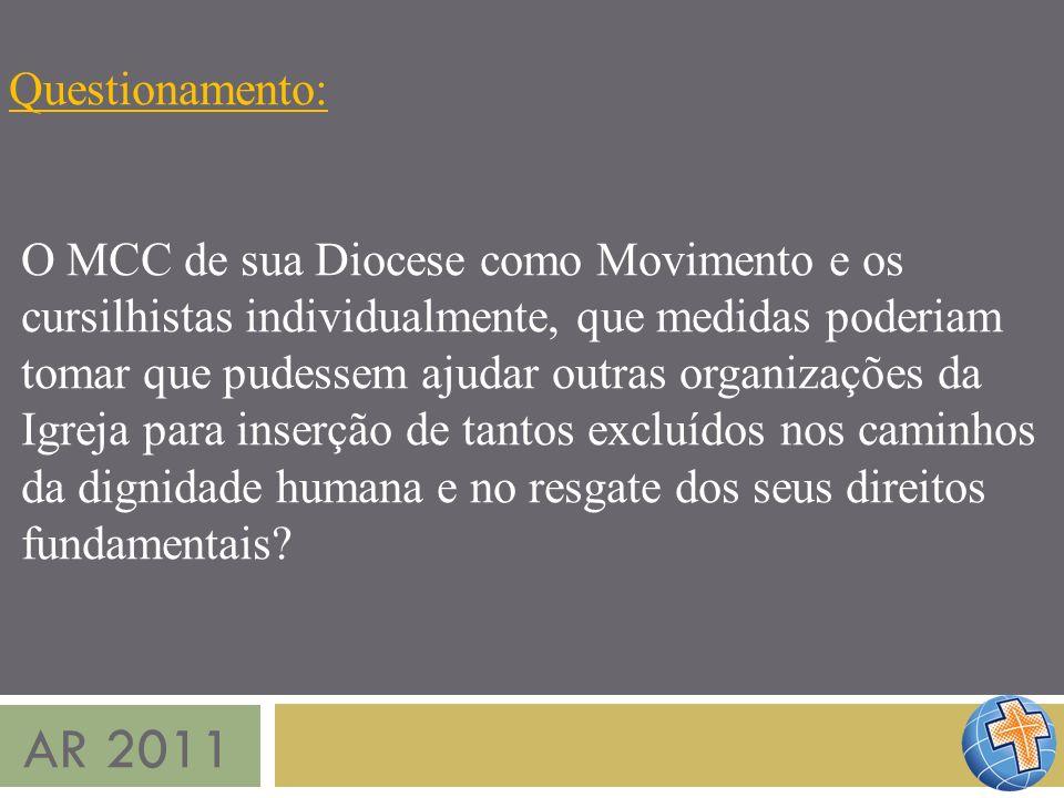AR 2011 Questionamento: O MCC de sua Diocese como Movimento e os cursilhistas individualmente, que medidas poderiam tomar que pudessem ajudar outras o