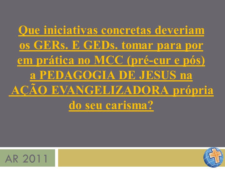 AR 2011 Que iniciativas concretas deveriam os GERs. E GEDs. tomar para por em prática no MCC (pré-cur e pós) a PEDAGOGIA DE JESUS na AÇÃO EVANGELIZADO