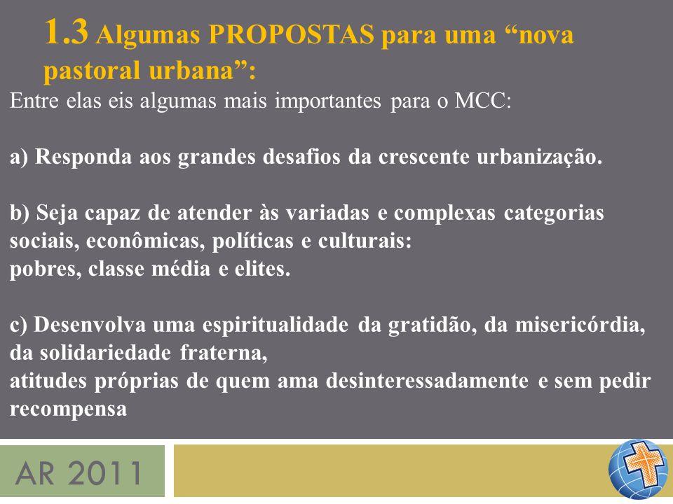 AR 2011 1.3 Algumas PROPOSTAS para uma nova pastoral urbana: Entre elas eis algumas mais importantes para o MCC: a) Responda aos grandes desafios da c