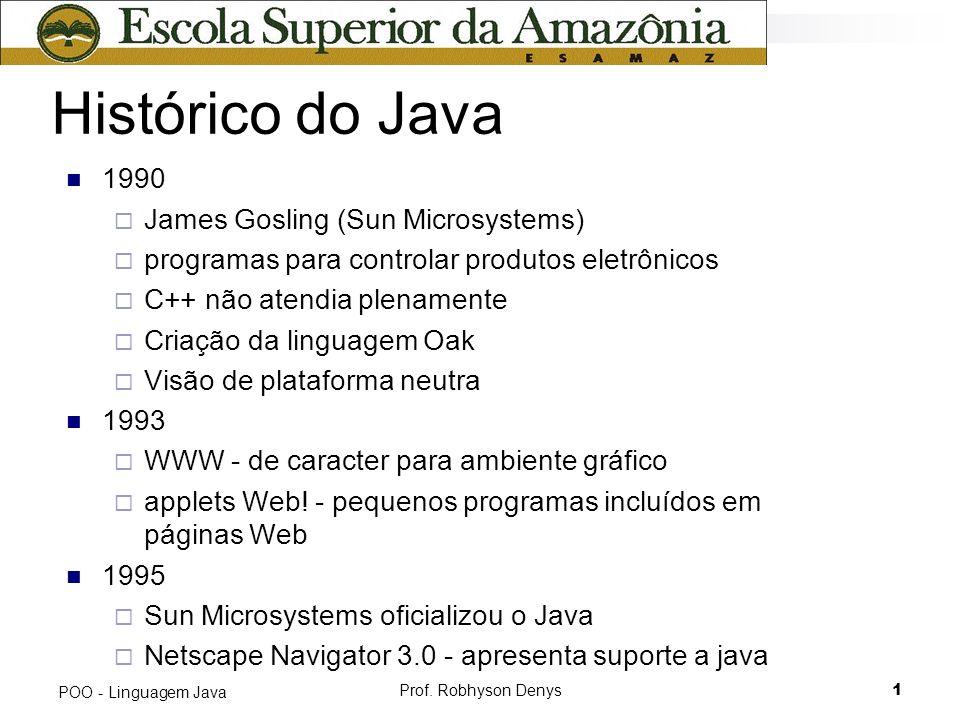 Prof. Robhyson Denys1 POO - Linguagem Java Histórico do Java 1990 James Gosling (Sun Microsystems) programas para controlar produtos eletrônicos C++ n