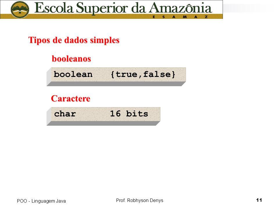 Prof. Robhyson Denys11 POO - Linguagem Java Tipos de dados simples Tipos de dados simples boolean {true,false} booleanos booleanos Caractere Caractere