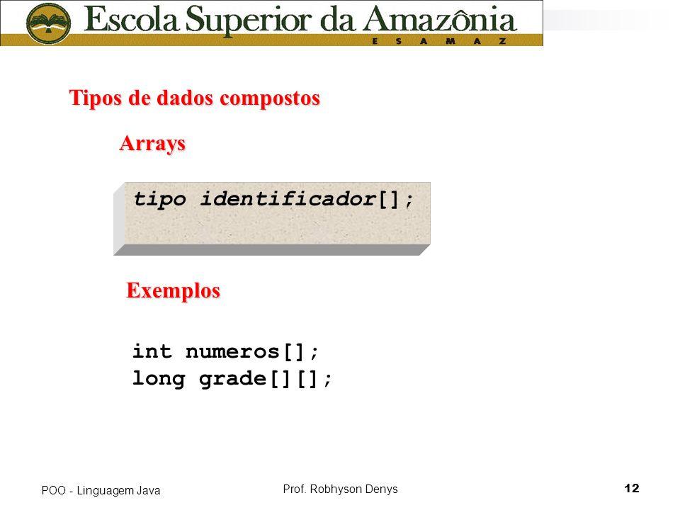 Prof. Robhyson Denys12 POO - Linguagem Java Tipos de dados compostos Tipos de dados compostos tipo identificador[]; Exemplos Exemplos int numeros[]; l