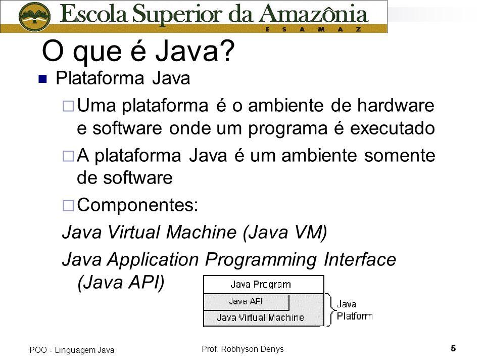 Prof. Robhyson Denys5 POO - Linguagem Java O que é Java? Plataforma Java Uma plataforma é o ambiente de hardware e software onde um programa é executa