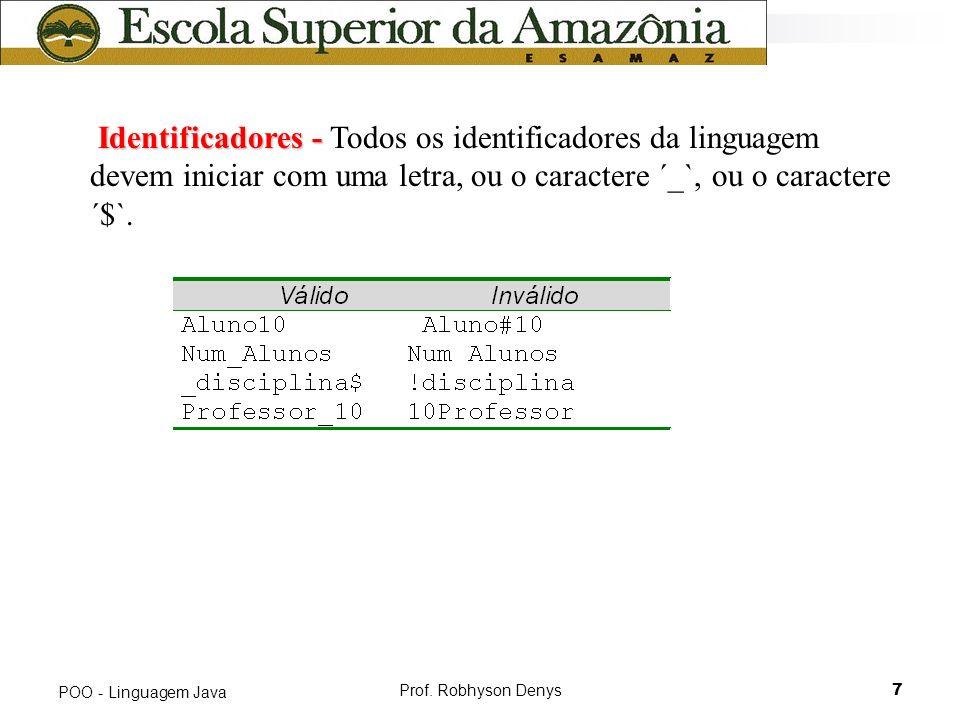 Prof. Robhyson Denys7 POO - Linguagem Java Identificadores - Identificadores - Todos os identificadores da linguagem devem iniciar com uma letra, ou o