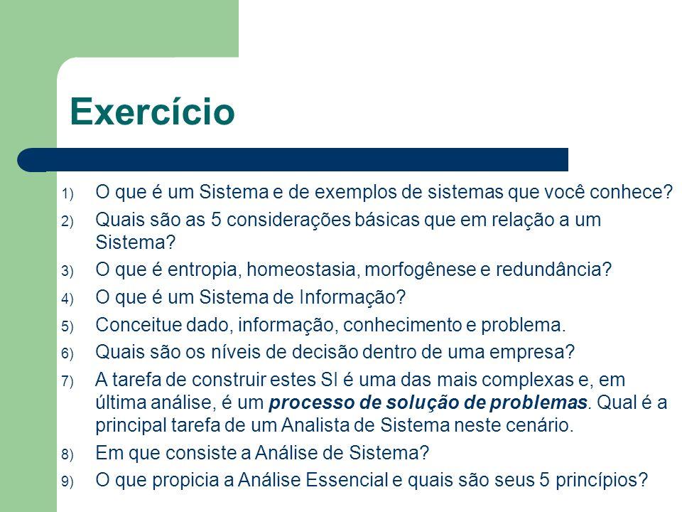 Exercício 1) O que é um Sistema e de exemplos de sistemas que você conhece.