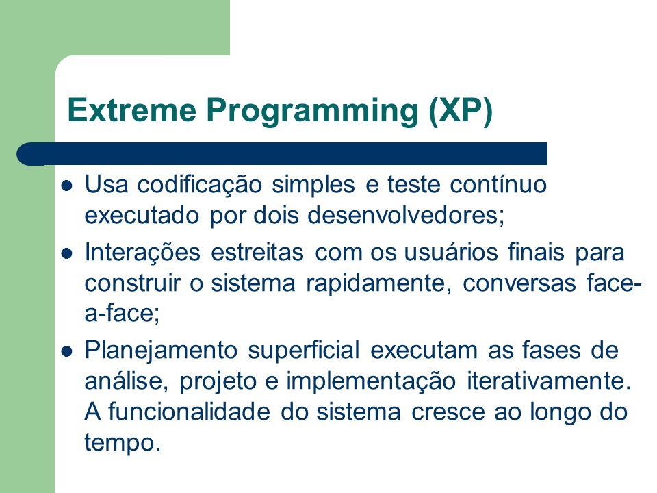Extreme Programming (XP) Usa codificação simples e teste contínuo executado por dois desenvolvedores; Interações estreitas com os usuários finais para
