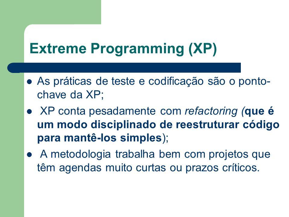 Extreme Programming (XP) As práticas de teste e codificação são o ponto- chave da XP; XP conta pesadamente com refactoring (que é um modo disciplinado