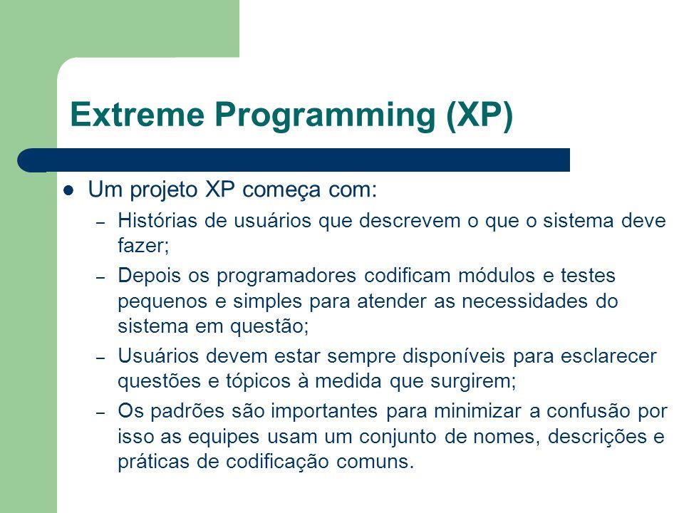 Extreme Programming (XP) Um projeto XP começa com: – Histórias de usuários que descrevem o que o sistema deve fazer; – Depois os programadores codific
