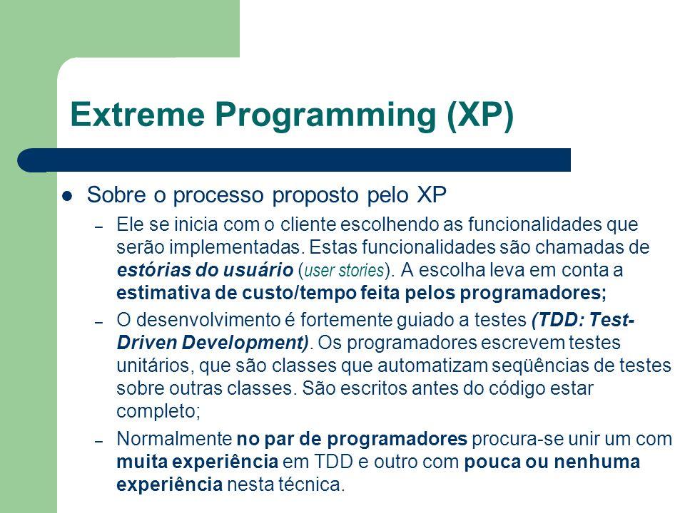 Sobre o processo proposto pelo XP – Ele se inicia com o cliente escolhendo as funcionalidades que serão implementadas. Estas funcionalidades são chama