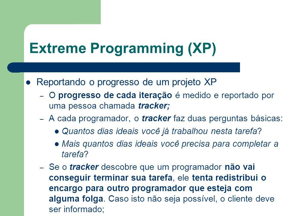Reportando o progresso de um projeto XP – O progresso de cada iteração é medido e reportado por uma pessoa chamada tracker; – A cada programador, o tr