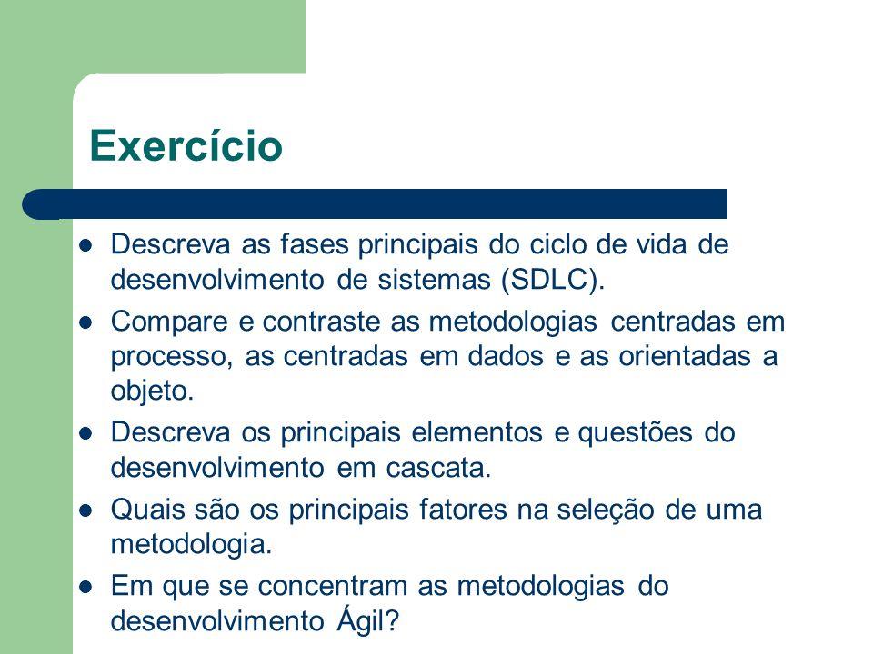 Exercício Descreva as fases principais do ciclo de vida de desenvolvimento de sistemas (SDLC). Compare e contraste as metodologias centradas em proces