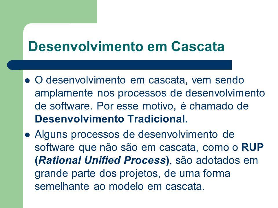 O desenvolvimento em cascata, vem sendo amplamente nos processos de desenvolvimento de software. Por esse motivo, é chamado de Desenvolvimento Tradici