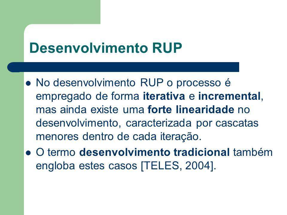 Desenvolvimento RUP No desenvolvimento RUP o processo é empregado de forma iterativa e incremental, mas ainda existe uma forte linearidade no desenvol