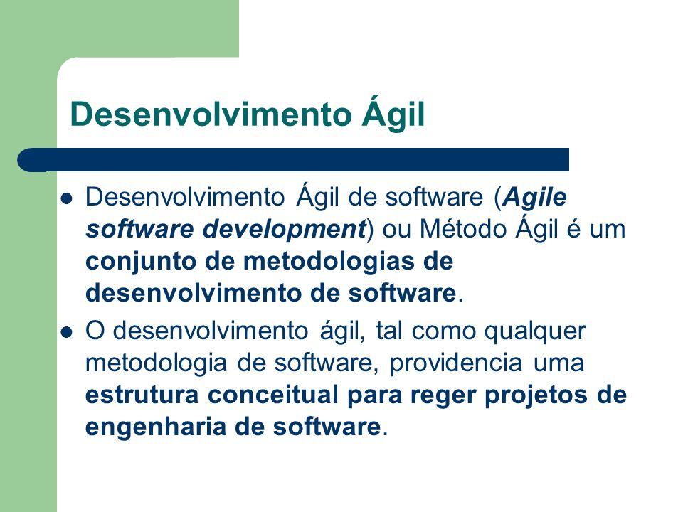 Desenvolvimento Ágil Desenvolvimento Ágil de software (Agile software development) ou Método Ágil é um conjunto de metodologias de desenvolvimento de