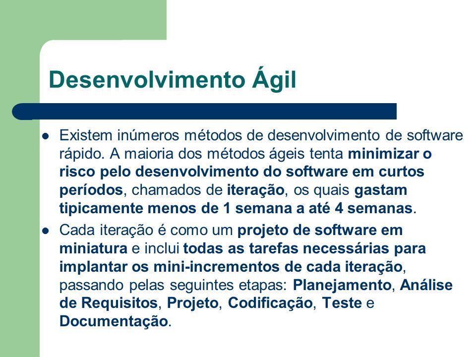 Desenvolvimento Ágil Enquanto em um processo convencional, cada iteração não está necessariamente focada em adicionar um novo conjunto significativo de funcionalidades, um projeto de software ágil busca a capacidade de implantar uma nova versão do software ao fim de cada iteração.