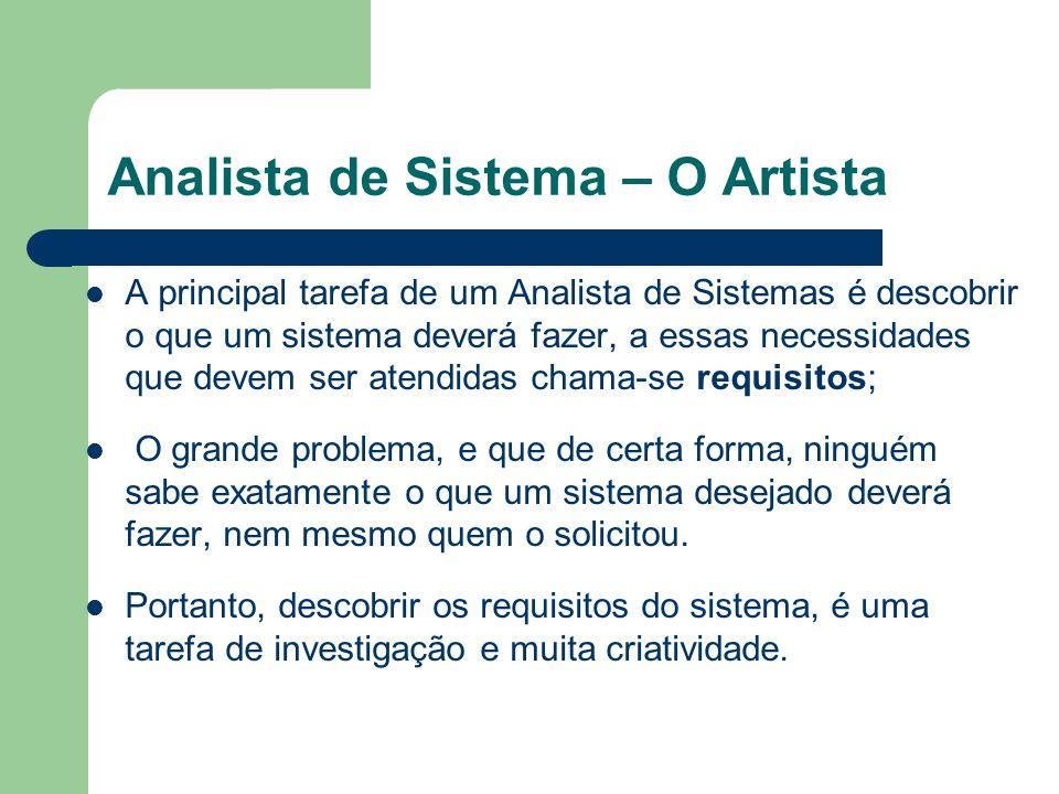 Analista de Sistema – O Artista A principal tarefa de um Analista de Sistemas é descobrir o que um sistema deverá fazer, a essas necessidades que deve