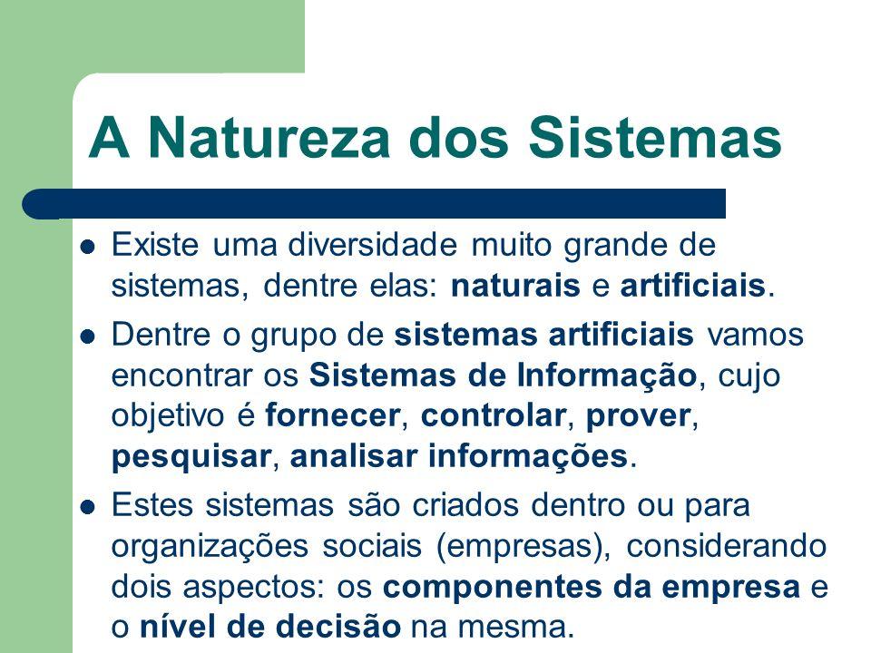 A Natureza dos Sistemas Existe uma diversidade muito grande de sistemas, dentre elas: naturais e artificiais. Dentre o grupo de sistemas artificiais v