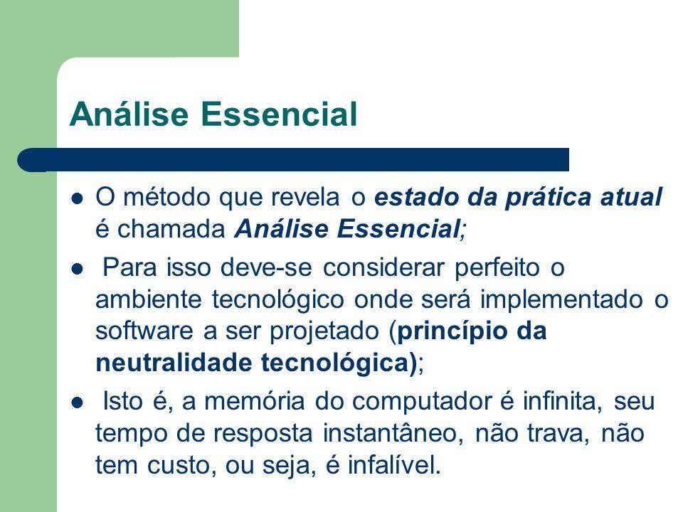 Análise Essencial O método que revela o estado da prática atual é chamada Análise Essencial; Para isso deve-se considerar perfeito o ambiente tecnológ