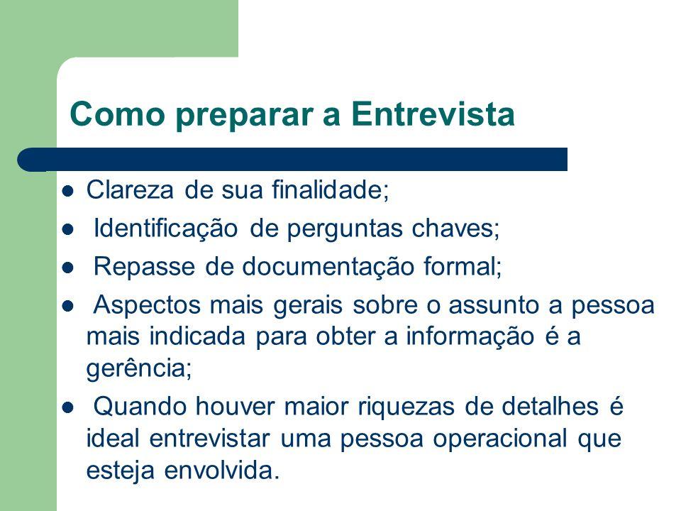 Como preparar a Entrevista Clareza de sua finalidade; Identificação de perguntas chaves; Repasse de documentação formal; Aspectos mais gerais sobre o