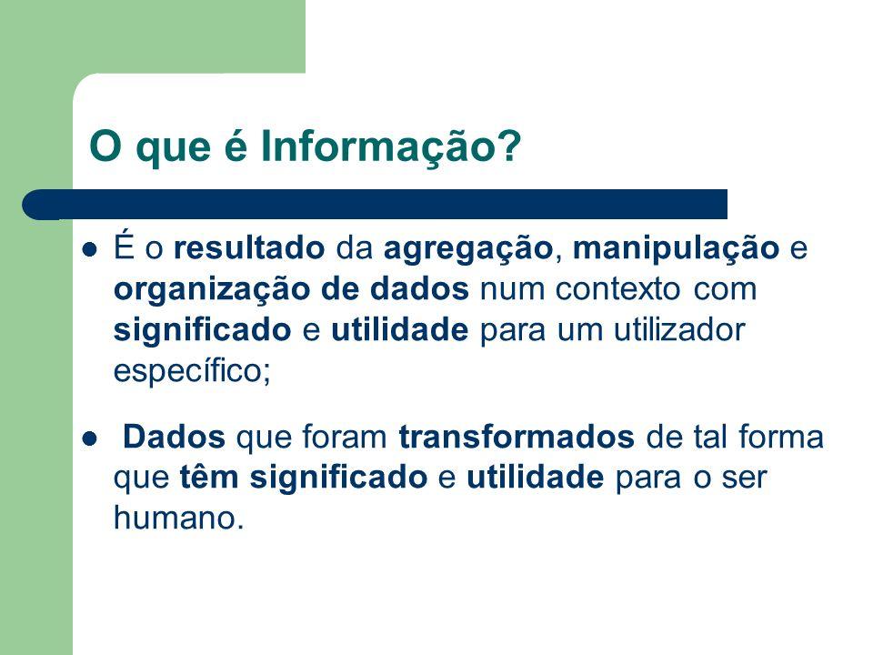 O que é Informação? É o resultado da agregação, manipulação e organização de dados num contexto com significado e utilidade para um utilizador específ