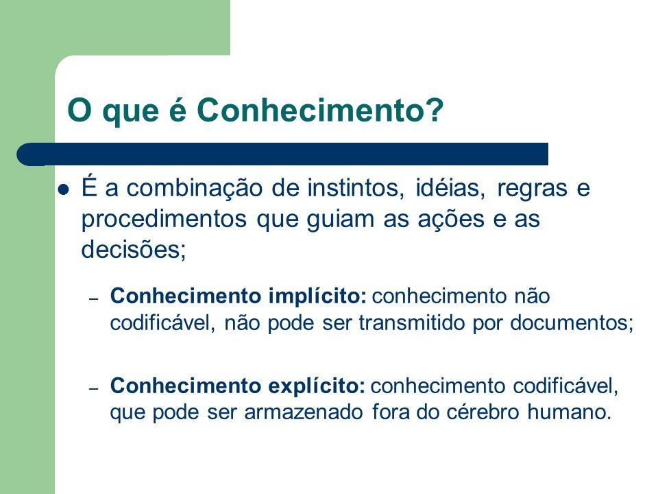 O que é Conhecimento? É a combinação de instintos, idéias, regras e procedimentos que guiam as ações e as decisões; – Conhecimento implícito: conhecim