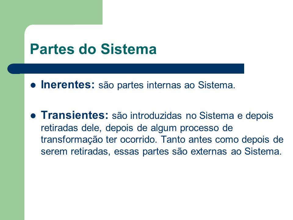 Partes do Sistema Inerentes: são partes internas ao Sistema. Transientes: são introduzidas no Sistema e depois retiradas dele, depois de algum process