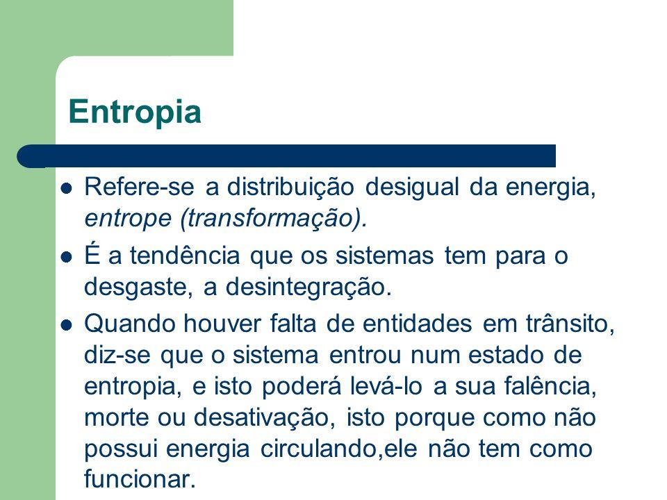 Entropia Refere-se a distribuição desigual da energia, entrope (transformação). É a tendência que os sistemas tem para o desgaste, a desintegração. Qu