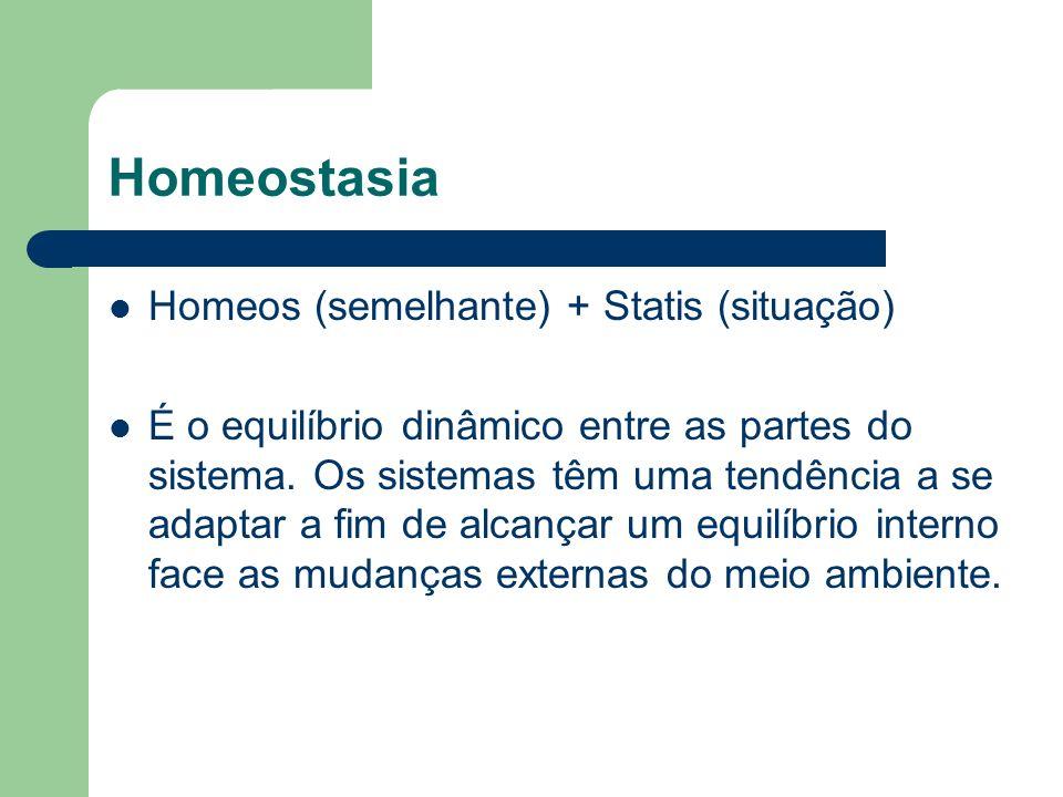 Homeostasia Homeos (semelhante) + Statis (situação) É o equilíbrio dinâmico entre as partes do sistema. Os sistemas têm uma tendência a se adaptar a f