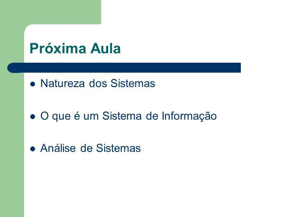 Próxima Aula Natureza dos Sistemas O que é um Sistema de Informação Análise de Sistemas
