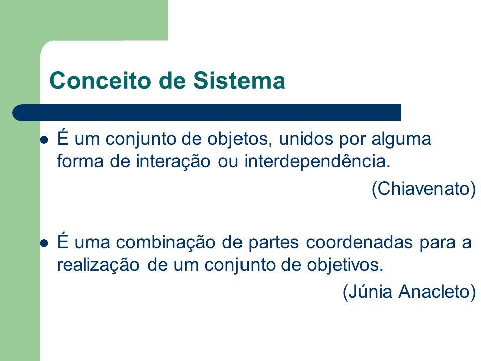 Conceito de Sistema É um conjunto de objetos, unidos por alguma forma de interação ou interdependência. (Chiavenato) É uma combinação de partes coorde