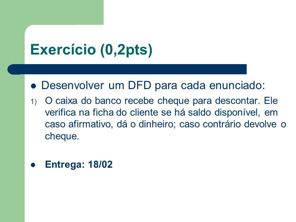 Exercício (0,2pts) Desenvolver um DFD para cada enunciado: 1) O caixa do banco recebe cheque para descontar. Ele verifica na ficha do cliente se há sa