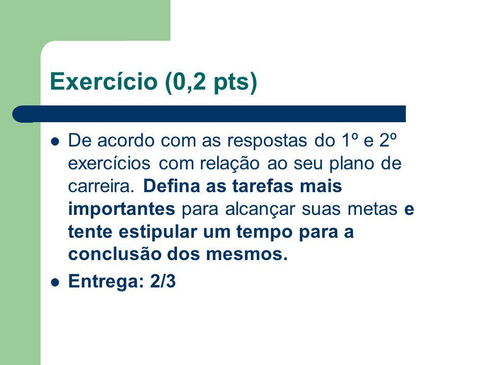Exercício (0,2 pts) De acordo com as respostas do 1º e 2º exercícios com relação ao seu plano de carreira.