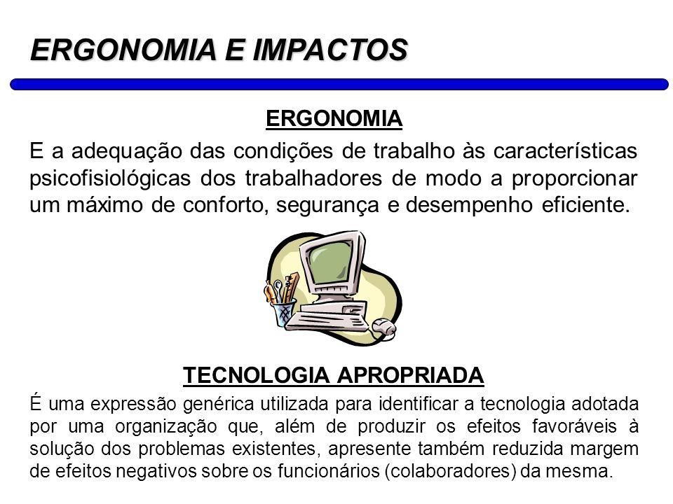 29 ERGONOMIA E IMPACTOS ERGONOMIA E a adequação das condições de trabalho às características psicofisiológicas dos trabalhadores de modo a proporciona