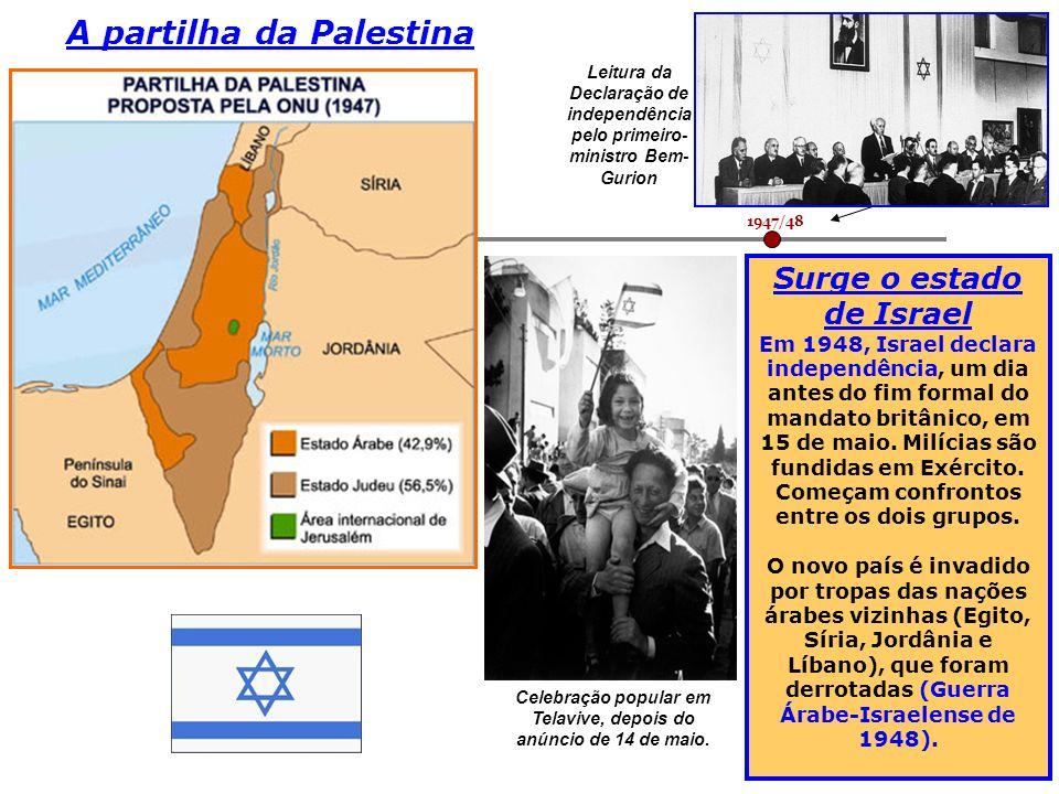 1947/48 Leitura da Declaração de independência pelo primeiro- ministro Bem- Gurion Surge o estado de Israel Em 1948, Israel declara independência, um
