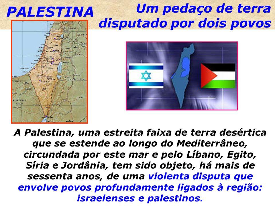 Um pedaço de terra disputado por dois povos A Palestina, uma estreita faixa de terra desértica que se estende ao longo do Mediterrâneo, circundada por