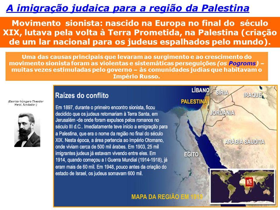 Movimento sionista: nascido na Europa no final do século XIX, lutava pela volta à Terra Prometida, na Palestina (criação de um lar nacional para os ju